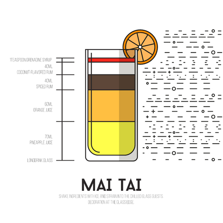 Mai Tai - Thin Flat Line Style Cocktail Recipe. Simple instructions on how to prepare the popular drink. Suitable for wall of your bar or on the web.