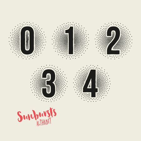 2 0: 0 1 2 3 4 Sunbursts Effect Stipple Numbers - Bold Font with Sunburst Made from Little Dots - Halftone Vector Illustration