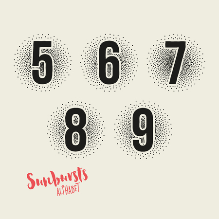 7 8: 5 6 7 8 9 Sunbursts Effect Stipple Numbers - Bold Font with Sunburst Made from Little Dots - Halftone Vector Illustration