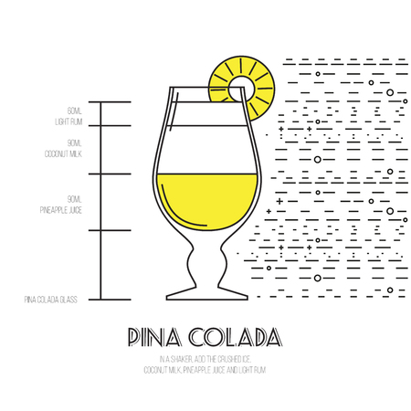 pina colada: Pina Colada - Thin Flat Line Style Cocktail Recipe. Simple instructions on how to prepare the popular drink. Suitable for wall of your bar or on the web.
