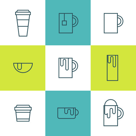 hot drinks: Hot Beverages Thin Flat Line Icons - Tea Coffee and other Hot Drinks in Simple Flat Outline Stroke Style - Outline Only Version