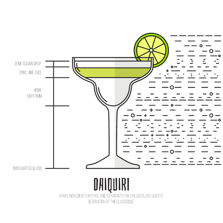daiquiri: Daiquiri - Thin Flat Line Style Cocktail Recipe. Simple instructions on how to prepare the popular drink. Suitable for wall of your bar or on the web.