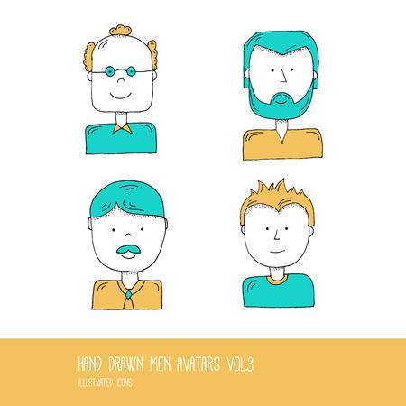 03: Set of Hand Drawn Flat Line Design People Icon avatars for Social Network and Your design. Men Vol. 03 - Vector Illustration Illustration