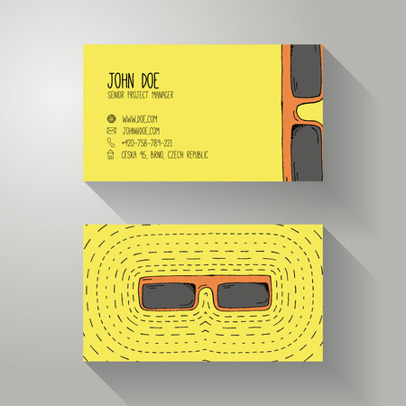 optician: Cartoon Style Hand Drawn Business Card Template with Sun Glasses - Doodle Optician Personal or Company Identity  Presentation Template
