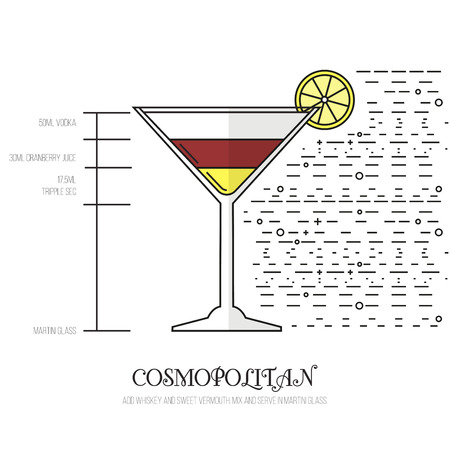 cosmopolitan: Cosmopolitan - Thin Flat Line Style Cocktail Recipe. Simple instructions on how to prepare the popular drink. Suitable for wall of your bar or on the web.