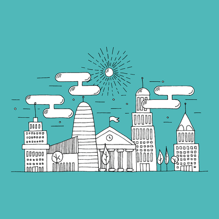 illustrated: Hand illustrated thin flat line city landscape with white fill. City scenery with skyscrapers, trees and the sky full of clouds. Modern urban illustration isolated on white background.