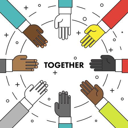discriminacion: Hagámoslo juntos. línea cartel de motivación delgada plana contra el racismo y la discriminación. Muchas manos de diferentes razas en un círculo uno frente al otro. Ilustración del vector.