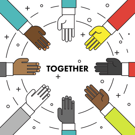 many hands: Lets do it together. Flat thin line motivational poster against racism and discrimination. Many hands of different races in a circle facing each other. Vector Illustration.