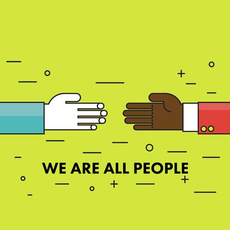 discriminacion: Todos somos humanos. Cartel de motivaci�n de l�nea delgada plana contra el racismo y la discriminaci�n. Dos manos de diferentes razas de unos contra otros. Ilustraci�n del vector. Vectores