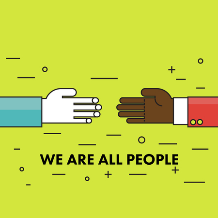discrimination: We are all human. Flat thin line Motivational poster against racism and discrimination. Two hands of different races against each other. Vector Illustration. Illustration