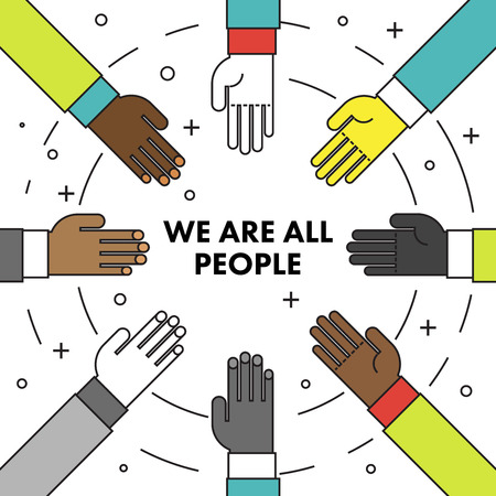 We are all people. Flat thin line motivational poster against racism and discrimination. Many hands of different races in a circle facing each other. Vector Illustration Çizim