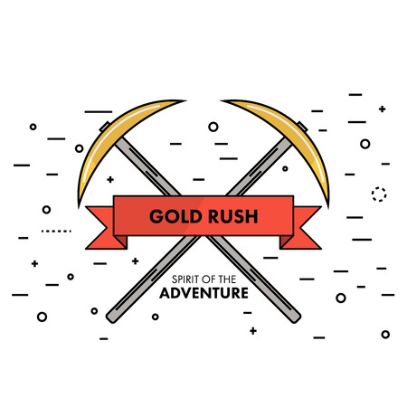 goldmine: Flat thin line Gold Rush spirit of adventure banner or logo template. Two crossed pickaxes on a white background with an sign in the ribbon. Self promo marketing resource. Vector illustration.