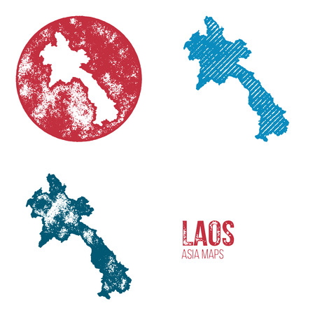 geography: Laos Grunge Retro Maps - Asia - Three silhouettes Laos maps with different unique letterpress vector textures - Infographic and geography resource