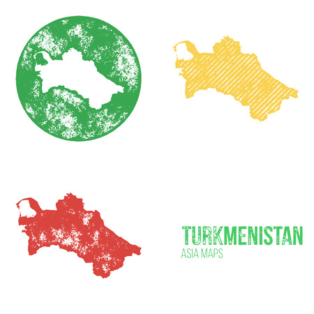 turkmenistan: Turkmenistan Grunge Retro Maps - Asia - Three silhouettes Turkmenistan maps with different unique letterpress vector textures - Infographic and geography resource Illustration