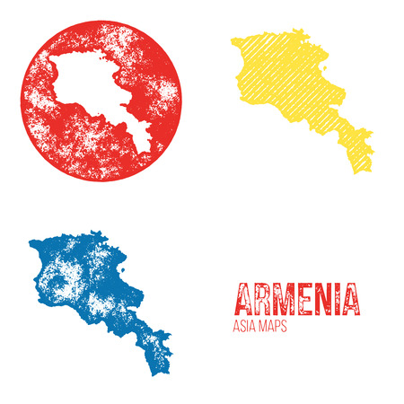 geography: Armenia Grunge Retro Maps - Asia - Three silhouettes Armenia maps with different unique letterpress vector textures - Infographic and geography resource Illustration