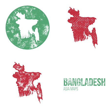 geography: Bangladesh Grunge Retro Maps - Asia - Three silhouettes Bangladesh maps with different unique letterpress vector textures - Infographic and geography resource Illustration