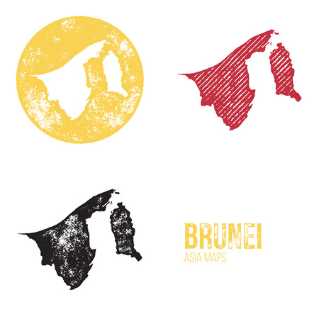 geography: Brunei Grunge Retro Maps - Asia - Three silhouettes Brunei maps with different unique letterpress vector textures - Infographic and geography resource Illustration