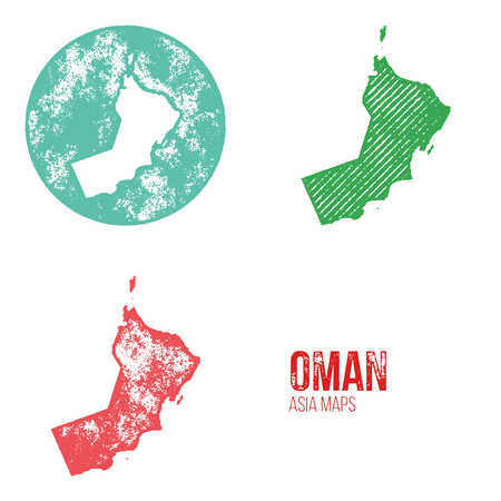 geography: Oman Grunge Retro Maps - Asia - Three silhouettes Oman maps with different unique letterpress vector textures - Infographic and geography resource