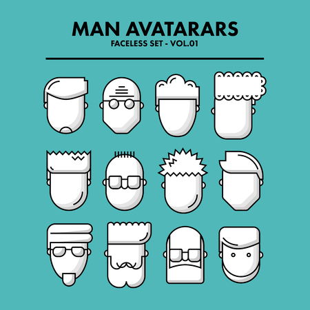 01: Thin Flat Line Man Avatars Icons - Faceless Set 01. Infographic or webdesign graphic resource. Profile picture. Vector Illustration