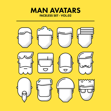 user icon: Thin Flat Line Man Avatars Icons - Faceless Set 02. Infographic or webdesign graphic resource. Profile picture. Vector Illustration