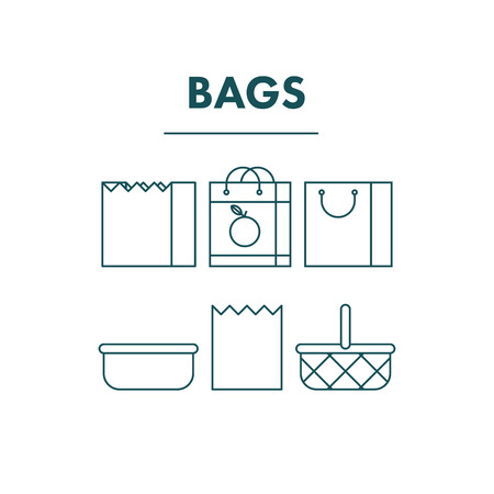 variant: Simple Thin Flat Line Shopping Bags Icons. Outline Stroke Variant. Infographic and web or application design resource. Vector Illustration.
