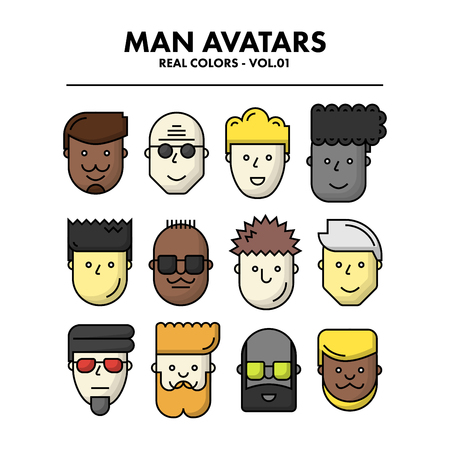 01: Thin Flat Line Man Avatars Icons - Real Color Set 01. Infographic or webdesign graphic resource. Profile picture. Vector Illustration
