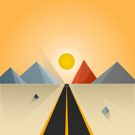 wastelands: Motivational flat landscape illustration. Direct route heading to the sunset on the horizon. Long shadow retro noise effect. Vector illustration for your web design header or advertising project.