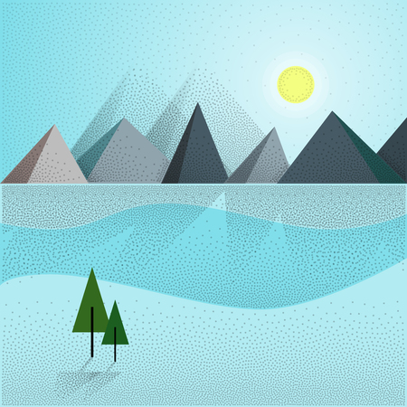 winter scenery: Flat Vector Landscape Background. Winter scenery with mountains trees in blue colors.  Long shadows and retro noise. Graphic resource for web header, advertising or wallpaper.