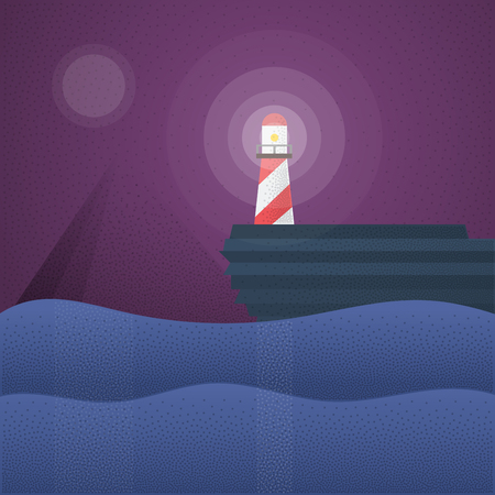 lighthouse at night: Flat retro lighthouse night scene. Night landscape in dark flat colors, blue and purple. Noise shadows effects. Modern vector illustration for you Webdesign header or advertising project. Illustration