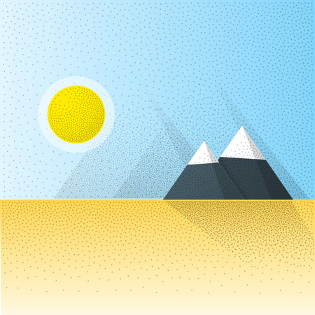 wastelands: Flat Vector Landscape Background. Desert scenery with yellow sand and big mountains. Long shadows with retro noise effect. Graphics resource for your Webdesign or advertising.