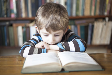 boy (5-10 years old) reading a book Stock Photo