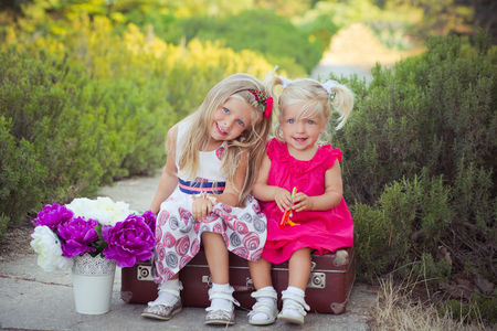 Sisters two both blond with deep ice blue eyes wearing colourful dresses posing in central park forest meadow sitting on travelling trunk bag with bouquet violet purple flowers. Stock Photo