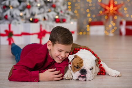 Christmas Holidays. handsome boy enjoy life time with his friend english bulldog close to new year tree with plenty presents around.Magic Christmas Stockfoto
