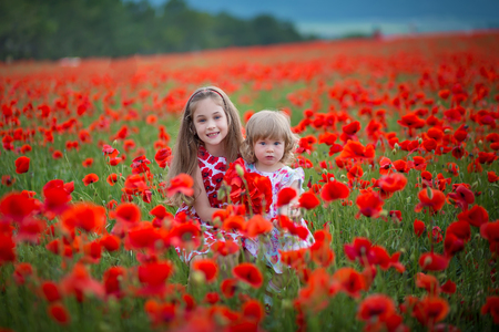 fashion, freedom, journey, travel, family, friendship concept - in the middle of poppy field there are enchanting little nymphs in gorgeous blue and white dresses and with floral wreaths on heads. Imagens