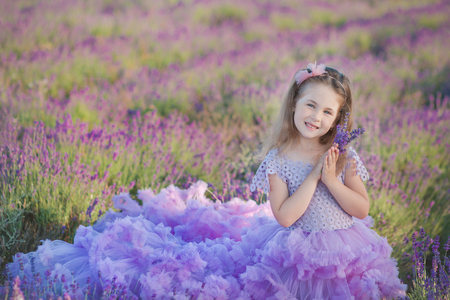 A girl in a beautiful lush purple dress in lavender field. Sweet girl in the lush lilac dress. Sweet girl in a lavender field.