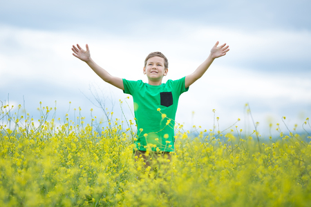 Happy cute handsome little kid boy on green grass lawn with blooming yellow dandelion flowers on sunny spring or summer day. Little boy dreaming and relaxing collecting a bouquet.
