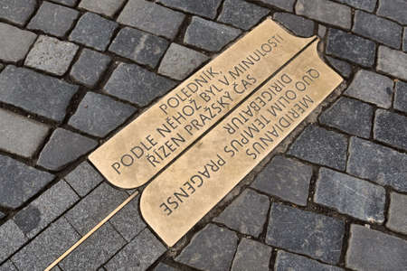 Prague, Czech Republic-17 of March 2020: Prague meridian at the old town square