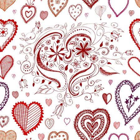 seamless red vector heart background texture