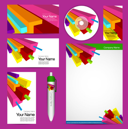 Complete vector colorful corporate identity collection