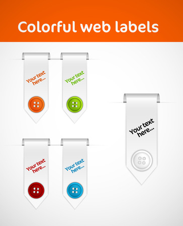 collection of web elements with colorful shirt butons