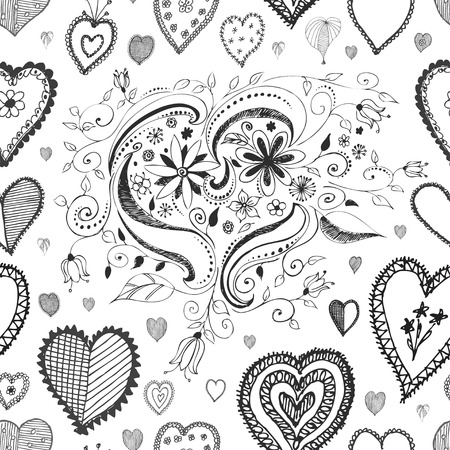 seamless grayscale vector heart background texture  Illustration