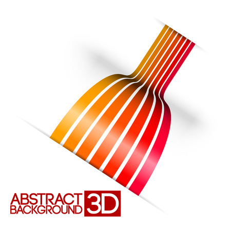 Abstract 3d red stripes vector background