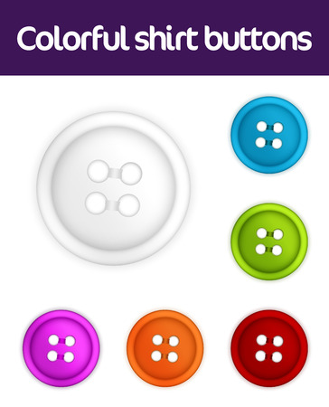 Colorful collection of realistic shirt buttons  Illustration