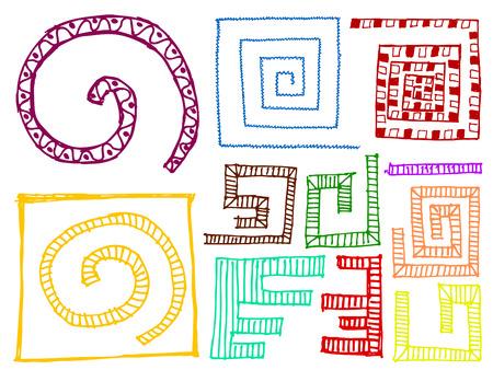 set of colorful doodle sketchy design elements