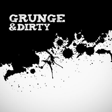 Abstract black grunge ink splats background