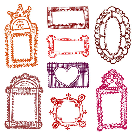 set of vintage hand drawn picture frames Vectores