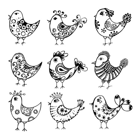 collection of hand drawn birds