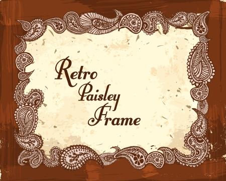 vintage oriental paisley frame Vectores