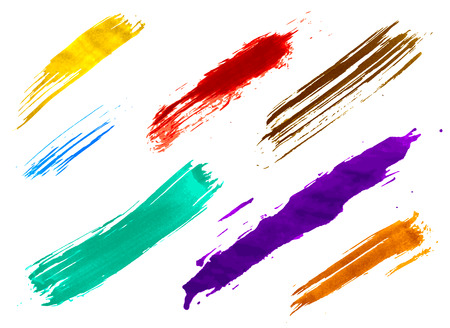 wet paint: set of colorful watercolor brushes