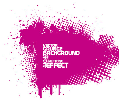 abstract pink grunge background with splats and halftone effect Vectores